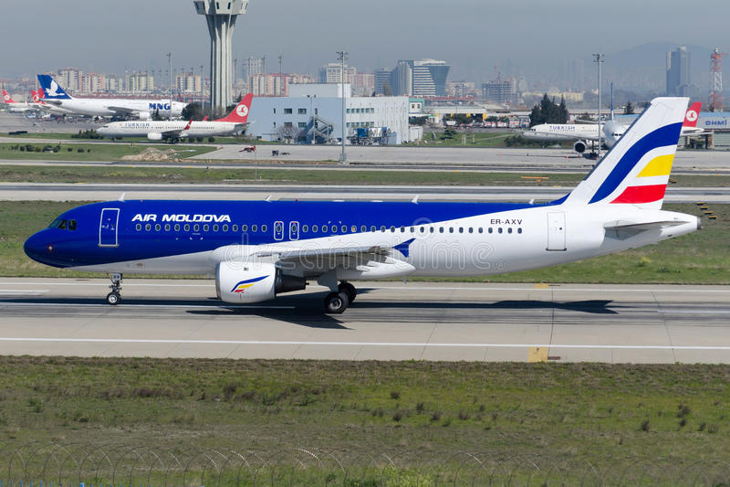 ER-AXV Air Moldova Aerobus A320-211 obrazy stock