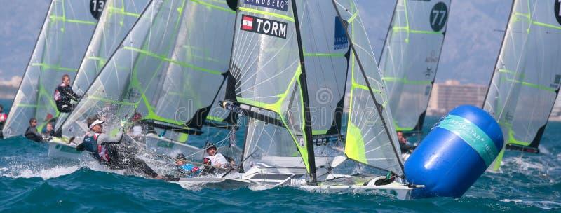 49er class sailing during regatta in palma de mallorca crew detail royalty free stock photo