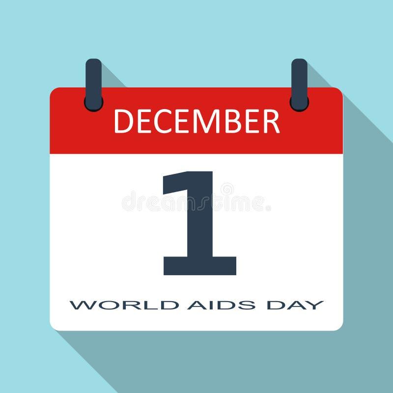 1er décembre Journée mondiale contre le SIDA Icône plate de calendrier quotidien de vecteur Dat illustration de vecteur