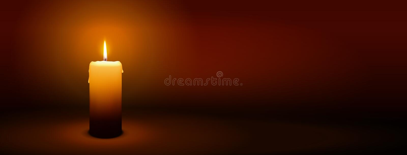 1er dimanche d'avènement - première bougie - bannière de panorama de lueur d'une bougie illustration stock