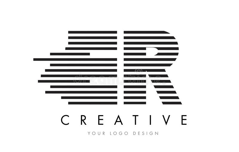 ER E R Zebra Letter Logo Design with Black and White Stripes vector illustration