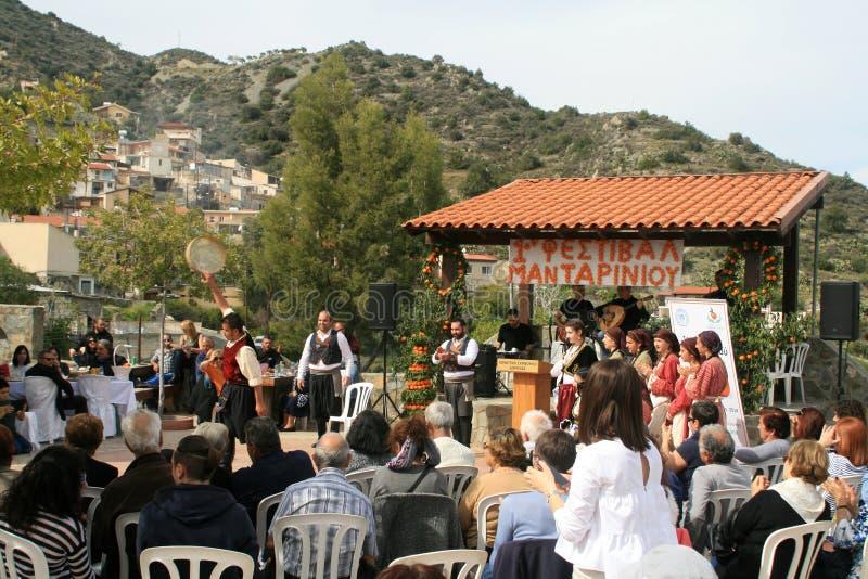 1er festival de mandarine dans le village de Dierona, Chypre image stock