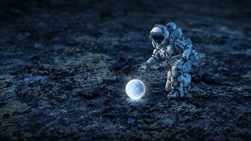 Er is het leven op maan Gemengde media stock foto's