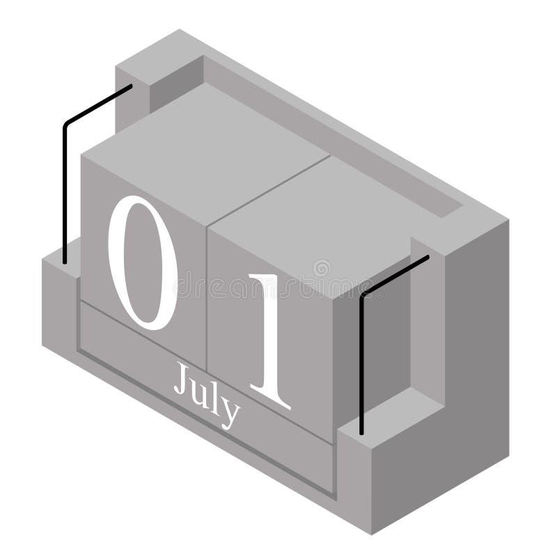 1er juillet date sur un calendrier d'un seul jour r illustration stock