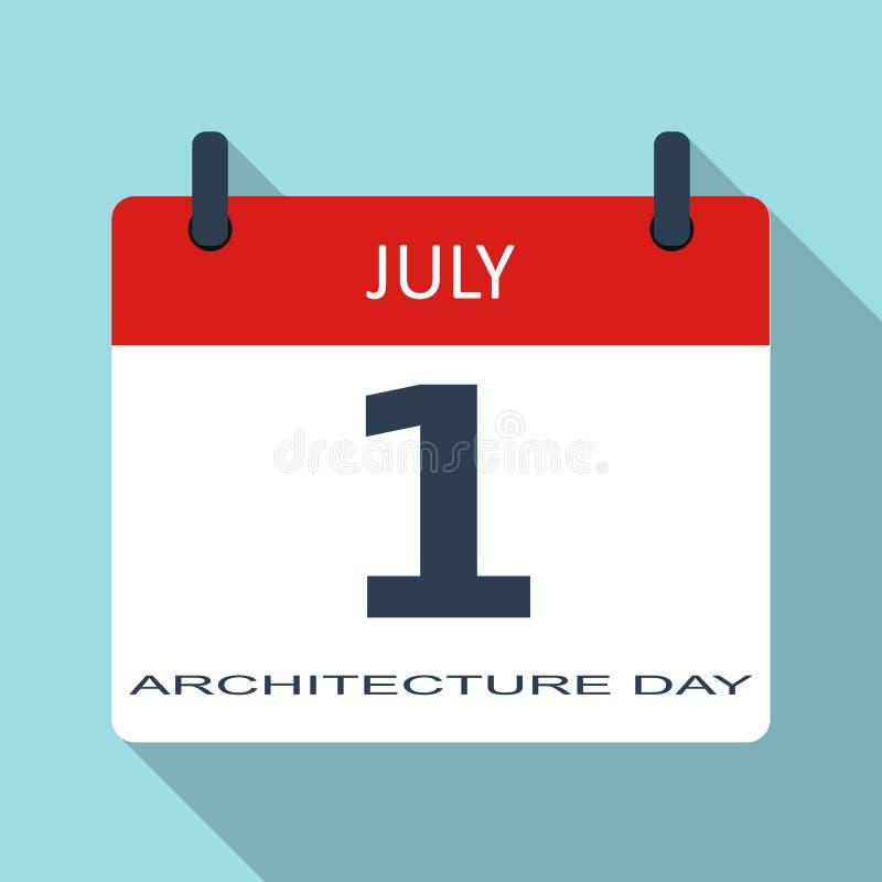 1er juillet Jour d'architecture Icône plate de calendrier quotidien de vecteur Date et heure, mois vacances Calibre simple modern illustration de vecteur