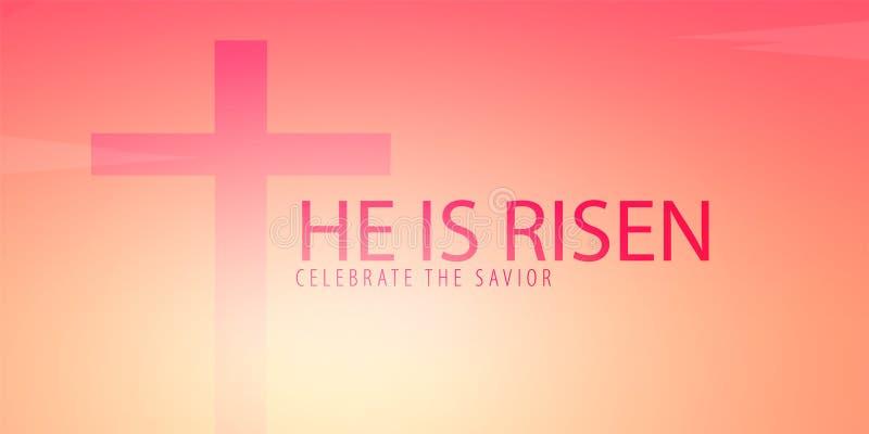 Er wird gestiegen Feiern Sie den Retter Ostern-Kirchenfahne mit Kreuz, christliches Motiv Auch im corel abgehobenen Betrag stock abbildung