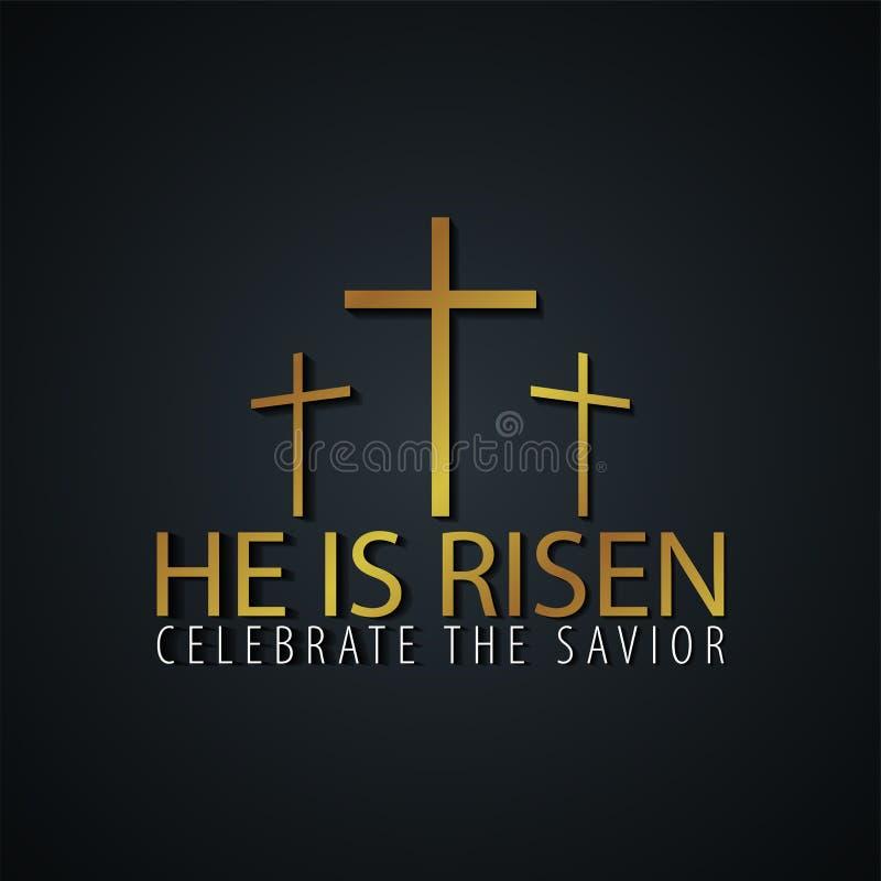 Er wird gestiegen Kirchenostern-Logo, -emblem, -aufkleber oder -aufkleber mit Kreuz Entwerfer Evgeniy Kotelevskiy lizenzfreie abbildung