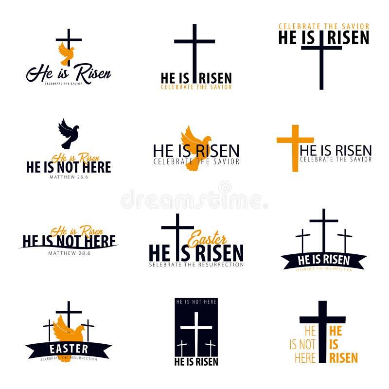 Er wird gestiegen Kirchenostern-Logo, -emblem, -aufkleber oder -aufkleber mit Taube und Kreuz Vektorgrafik eingestellt lizenzfreie abbildung
