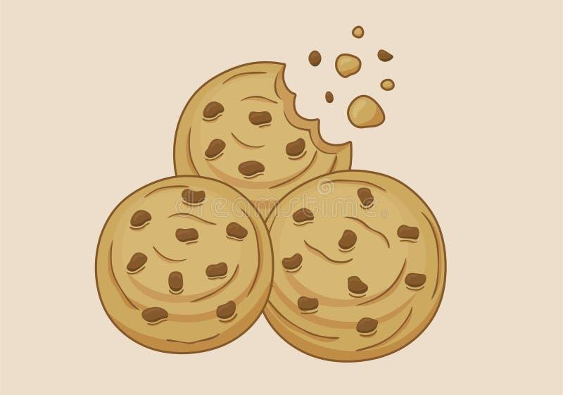 Er zijn drie zoete koekjes vector illustratie