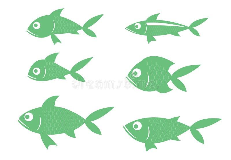 Er zijn vele species van vissen, snakken de groene rijen stock illustratie