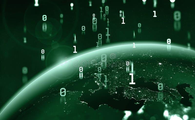 Era of digital technology. Binary code and Global data flow royalty free illustration