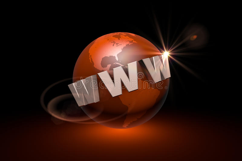 The era of Internet communications. Web technologies. Globalization. 3D illustration rendering. Globalization. International communication system. New royalty free illustration