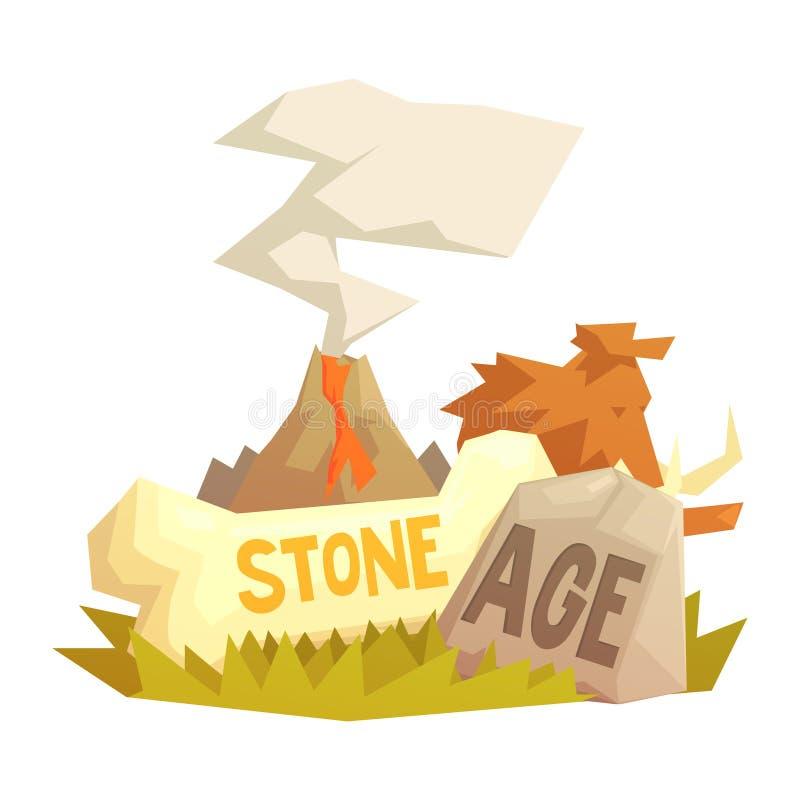 Era kamienia łupanego elementy, powulkaniczna erupcja, mamut, prehistoryczni symbole ilustracja wektor