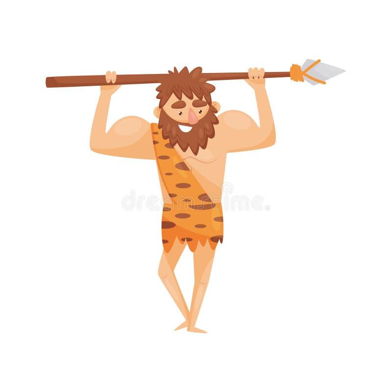 Era kamienia łupanego prehistoryczny mężczyzna z dzidą, pierwotnej cavemen postaci z kreskówki wektorowa ilustracja na białym tle royalty ilustracja