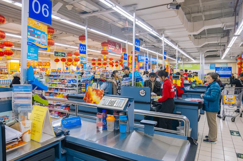 In the era of online shopping, the scene at the settlement office of wal-mart in China. Wal Mart Department Store Co., Ltd. is a worldwide chain enterprise in stock photo