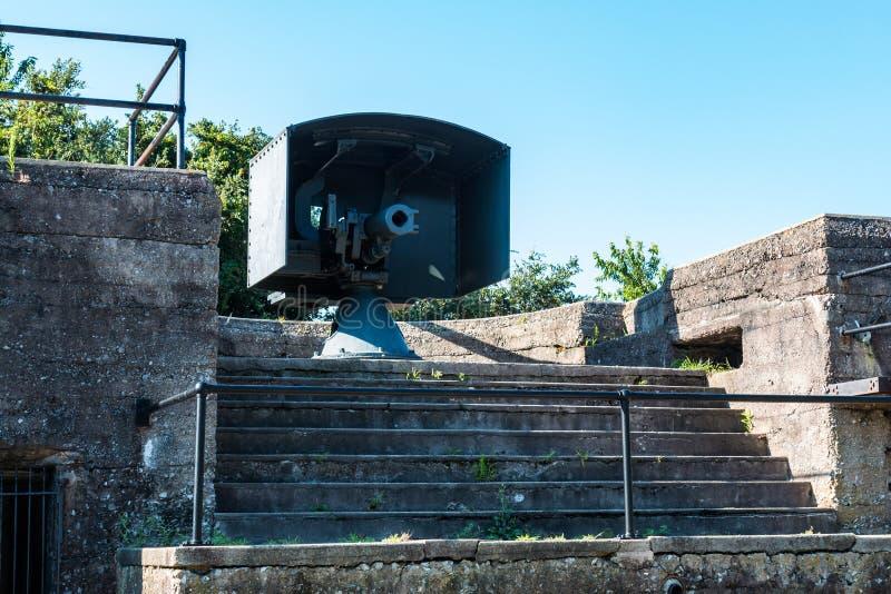 era pistolet przy Bateryjnym Irwin przy fortem Monroe obrazy stock