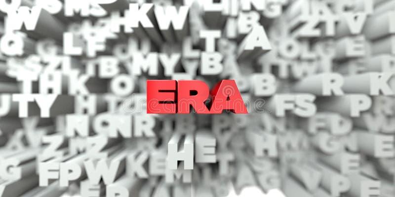ERA - Röd text på typografibakgrund - 3D framförde fri materielbild för royalty vektor illustrationer