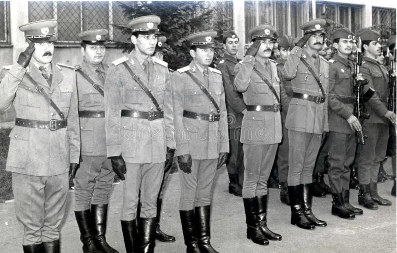 Era rumena del comunista degli ufficiali militari dell'esercito fotografia stock