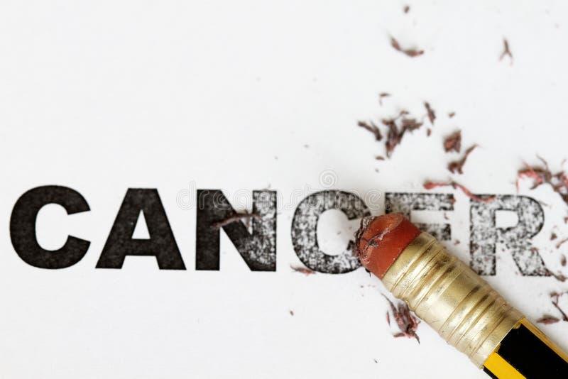 Eradicate cancer. Eradicate remove cancer concept as eraser erase the word cancel stock photography
