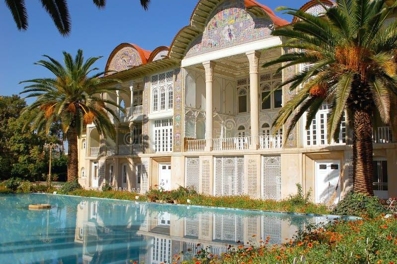 Eram Garden with turquoise pool royalty free stock photos