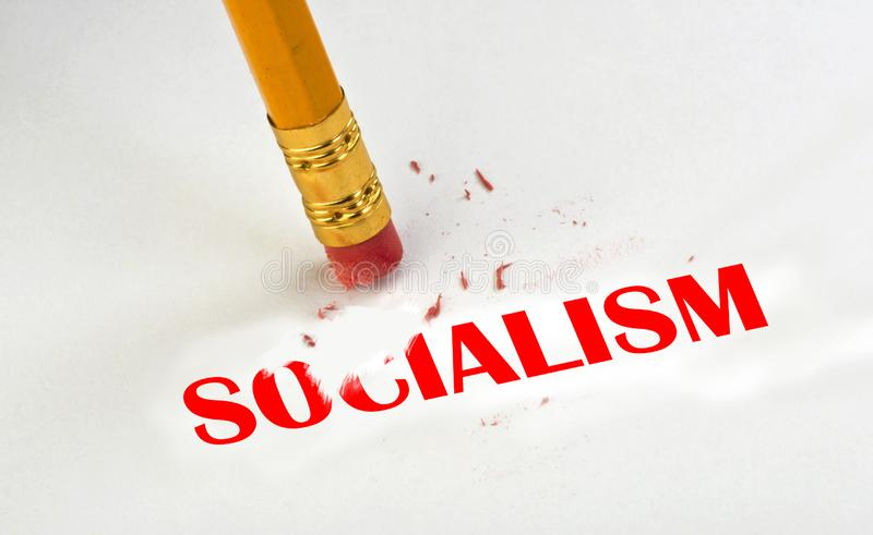 Erase away Socialism. With pencil and eraser royalty free stock photography