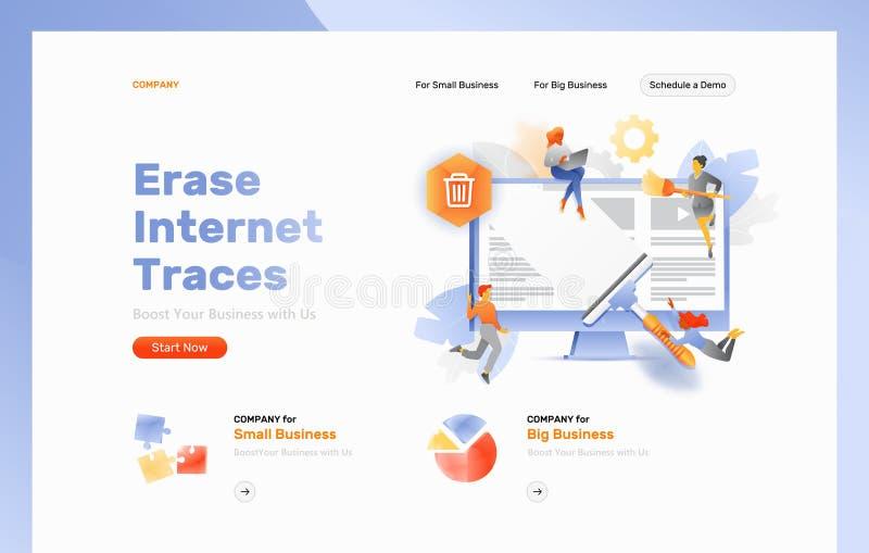 Erase Internet Traces Web Page Header royalty free illustration
