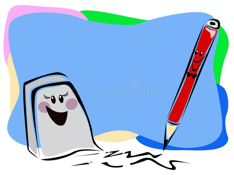 Download Eraser and pencil stock vector. Image of lead, wood, write - 16199721