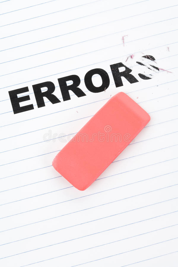 Eraser and word error stock image