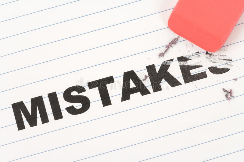 Eraser and word mistakes. Concept of Making Changing royalty free stock photos
