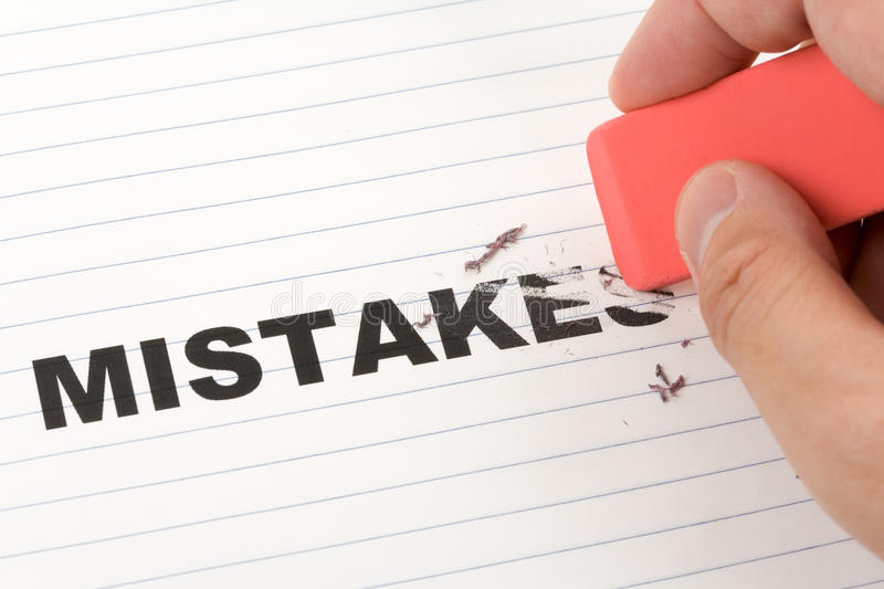 Eraser and word mistakes. Concept of Making Changing stock photography