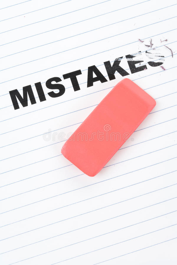 Eraser and word mistakes. Concept of Making Changing royalty free stock images