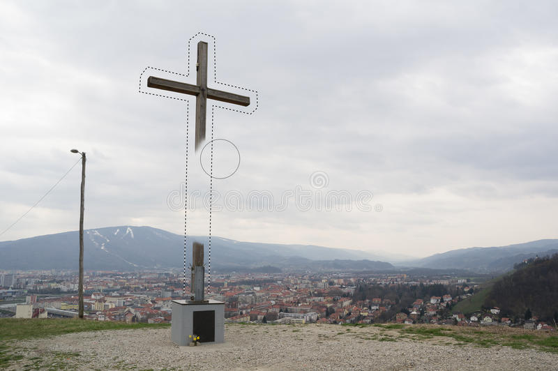 Erasing of christian cross stock image