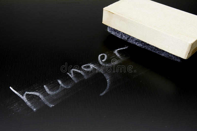 Erasing Hunger. The word Hunger written in chalk on a blackboard being erased royalty free stock images