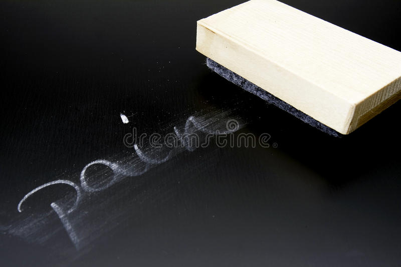 Erasing Pain. The word Pain written in chalk on a blackboard being erased stock photos