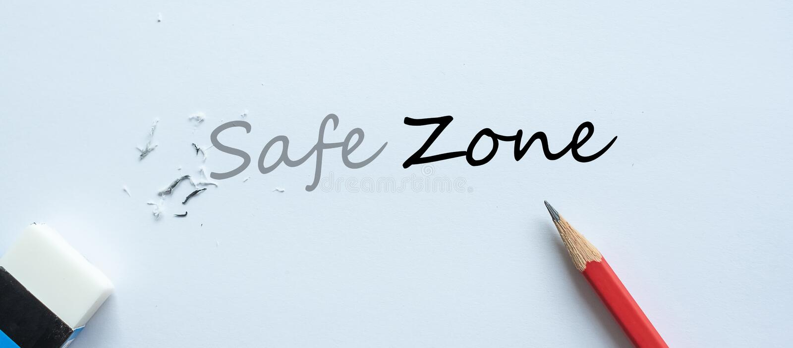 Erasing Safe Zone text change to Zone. challenge, positive thinking and success concept stock photos