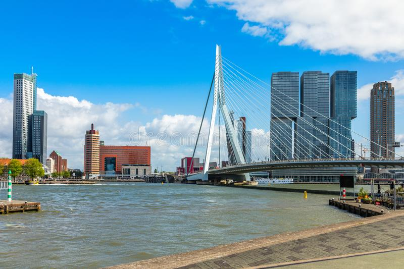 Erasmus Bridge and downtown skyscrapers at the embankment of Maas river, Rotterdam. The Netherlands stock photography