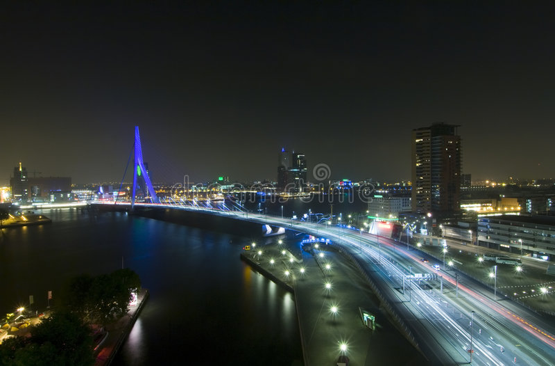 Erasmus Bridge by Night royalty free stock photo
