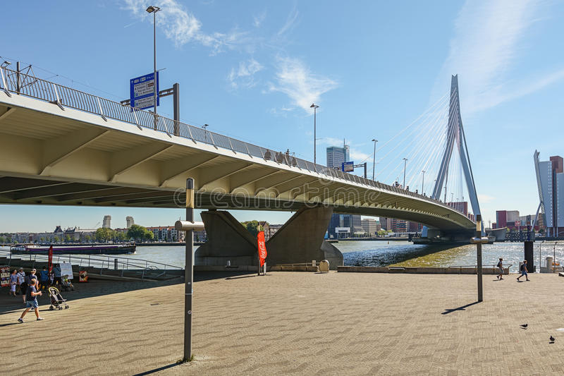 Erasmus bridge with on the right de building Tower on South. stock photo