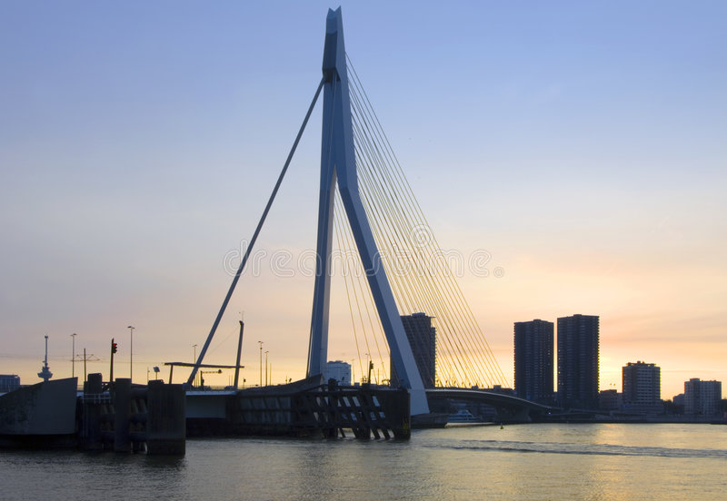 Erasmus Bridge at sunset stock photos