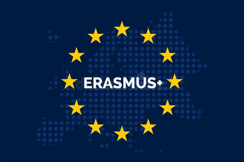 Erasmus en mapa de la unión europea ilustración del vector