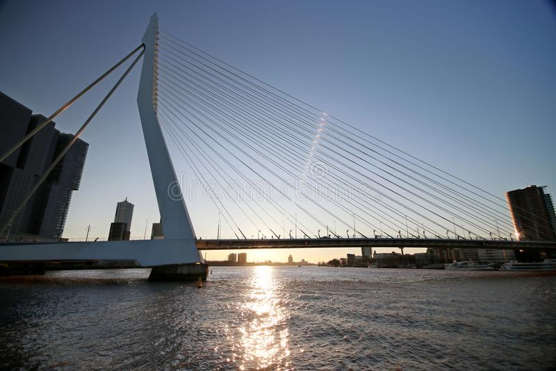 Erasmusbrug, grote die brug in Rotterdam aan Erasmus tijdens zonsondergang in de winter wordt genoemd stock foto