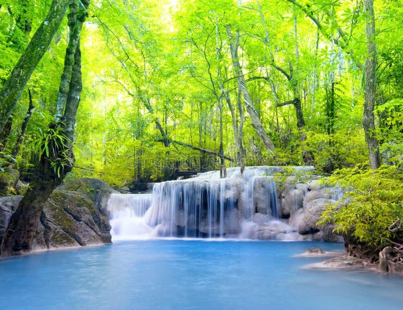 erawan泰国瀑布 美好的本质 图库摄影