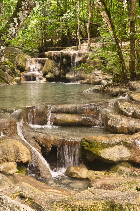 Erawan falls - Thailand royalty free stock photo