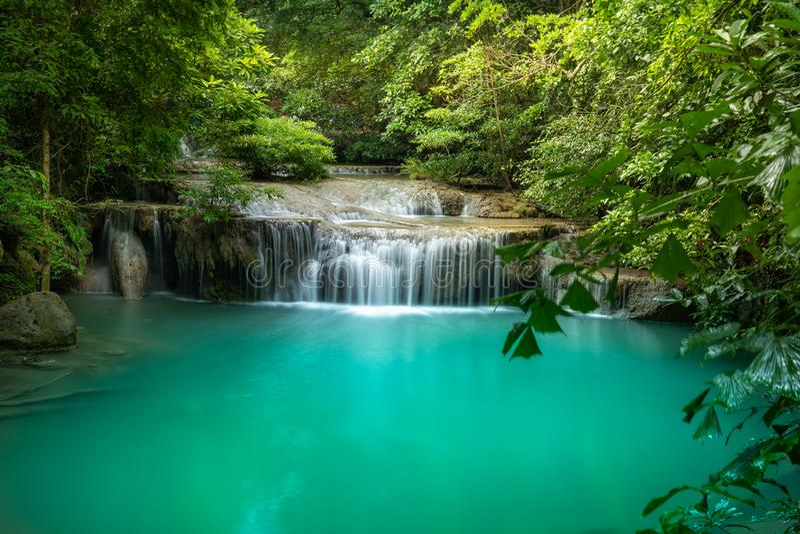 Erawan park narodowy w Kanchanaburi, Tajlandia obraz royalty free
