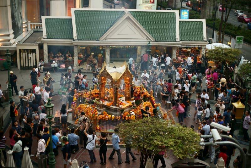 Erawan Shrine. Erawan Hindu Shrine at the Ratchaprasong intersection with Ratchadamri Road, Bangkok, Thailand stock photography