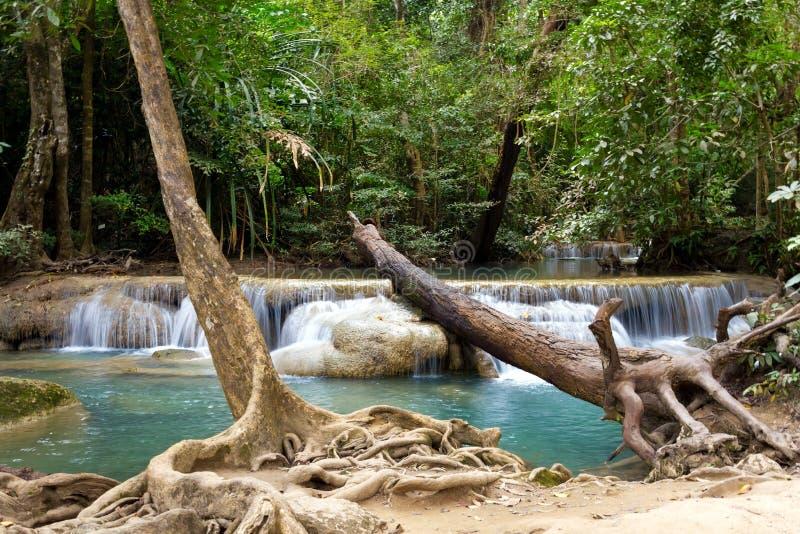 Erawan vattenfall royaltyfria foton