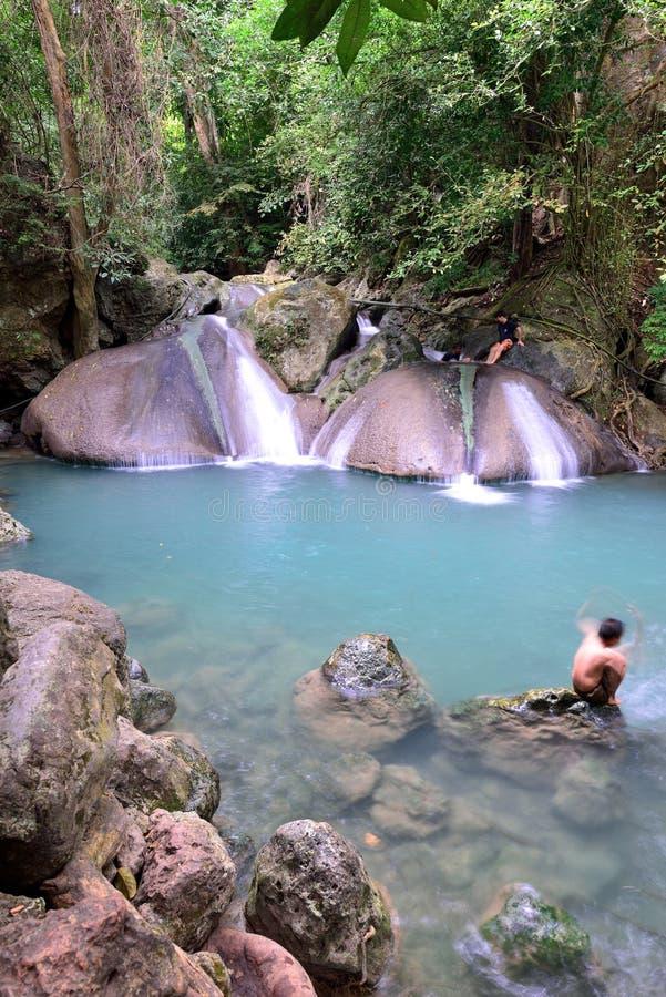 Erawan vattenfall, Thailand arkivfoto