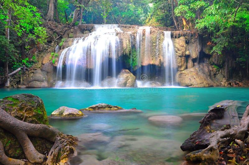 Erawan-Wasserfall Nationalpark stockbild