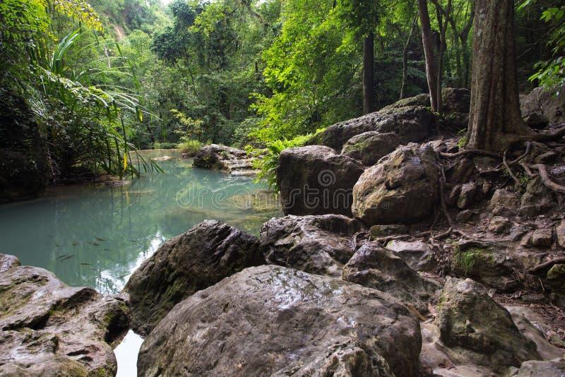Erawan-Wasserfallteich stockfotografie
