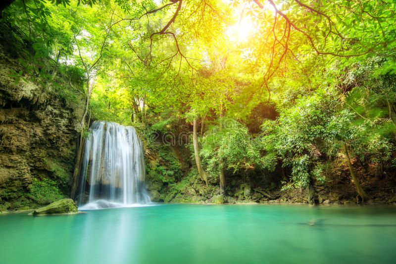 Erawan Waterfall, beautiful waterfall in spring forest in Kanchanaburi province, Thailand. Erawan Waterfall, beautiful waterfall in spring forest in Thiland stock image